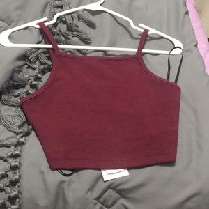 Forever 21 ribbed square neck crop top maroon NWT